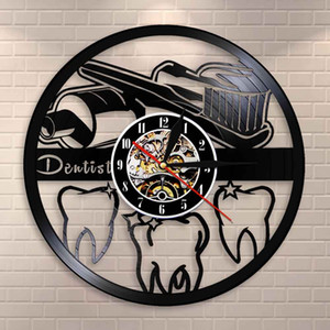 Toothbrush and Toothpaste Oral Hygiene Modern Bathroom Sign Wall Clock Dentist Vinyl Record Wall Clock Dental Nurse Dentist Gift Watch