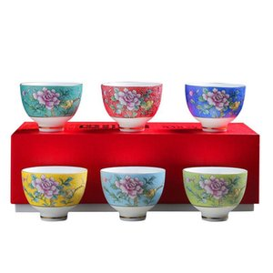 6pcs Ceramic Drinkware Teaware Chinese Kungfu Tea Set Teacup Sake Cups 50ml Master Cup Small Tea Bowls De sqcMoI