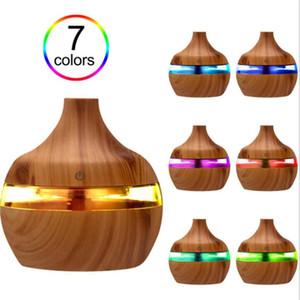 300ml Difusor umidificador de ar ultra Purifier Com Grão de madeira 7colors forma de mudança luzes LED para Home Office