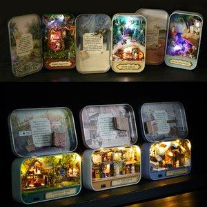 غرفة CUTE بيت الدمية اثاث صندوق مسرح DIY نموذج المنمنمات لعب دمية خشبية للأطفال الريف ملاحظات Y200413