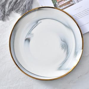 Steak Meyve Tatlı Nordic Sofra 6 8 10 inç Gri Pembe için Mermer Efekt Altın Rim Akşam Plaka Mermer Doku Seramik Rould Tabak