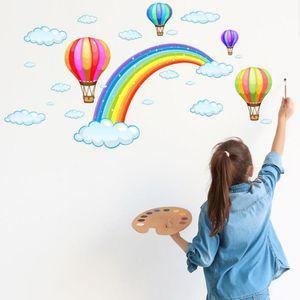 Cartoon rainbow cloud hot air balloon background sticker for kids baby room decor mural art decals home decor stickers wallpaper