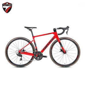 Twitter 2020 Nouvelle arrivée 700c Plein Carbon Road Bike Complete Disc Câbles cachés 105 GroupSet 22 Vitesse Gravel Route Vélo1