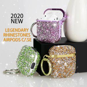 الفاخرة الماس بلينغ الحالات ل airpods برو 2 1 بلون الصلب لطيف سماعة لاسلكية حالة حقيبة واقية غطاء للهواء القرون 3