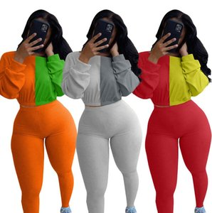New Design Color Block Patchwork Two Piece Tracksuit Sets Long Sleeve Hoodies Outfits Women Crop Top Sweater Legging Pants Sportwear F92905