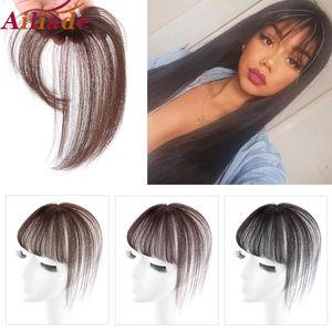 ALIADE 3D Cheveux Topper Bangs Invisible sans couture Bangs Femme court Faux cheveux Bangs BB clip postiches pour les femmes Faux periwig