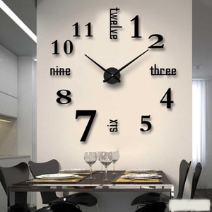 Fowecelt 3D DIY Wall Clock Modern Design Large Acrylic Clocks Home Sticker Decor Aesthetic Room Decor Clock On the Wall Numbers