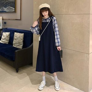 Loose Women's Early New Suspender Skirtsling Long-sleeved Skirt Autumn Chic P Two-piece Plaid Korean Inner Style Sling Shirt Susp Sprp