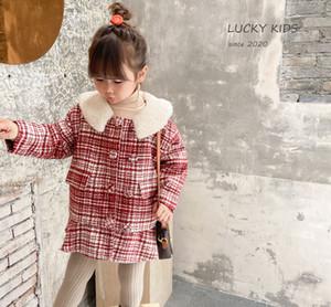 INS New Kids plaid fleece coat girls fleece Lapel lattice woolen falbala dress children thicken warm coat A4814