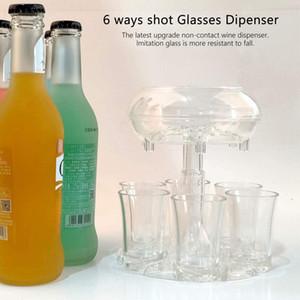 Transparent 6 Shot Acrylic Cups Dispenser Holder Wine Whisky Beer Dispenser Rack Bar Accessories Liquor Dispenser Party Games Drinking Tools