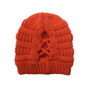 Criss Cross-cavalo Gorros 20 cores Mulheres Winter alta Bun Gorro Crânio Outdoor Caps Party Supplies os chapéus do partido c0338