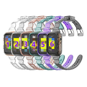 Bande de cas TPU en TPU clair de paillettes pour la montre Apple 6 5 4 Son avec une bande de montre mince Sangle transparente siamoise 40mm / 44mm Strap Smart Cover
