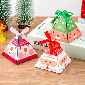 Merry Christmas Candy Box Bag Christmas Gift Box Kid Birthday Favor Box Package Paper Boxes Gift Bag Container Xmas Party Supplies