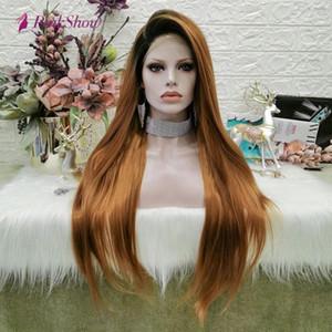Pinkshow Golden Brown pelucas para las mujeres larga sintética del frente del cordón peluca recta del pelo de fibra resistente al calor oscuro Raíz diario pelucas pelucas asiática X5MO #