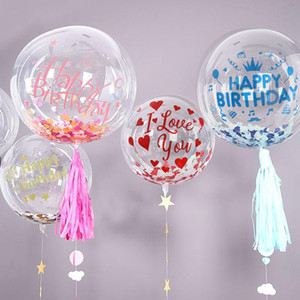 5Pcs 18 20 24 36Inch Transparent Bobo Balloon Clear Inflatable Balloons DIY 1Pc Happy Birthday Sticker Baby Shower Wedding Decor