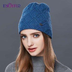 ENJOYFUR Knitted Wool Beanies Autumn winter hat for women fashion female ski skullies beanies thick warm hat for girls