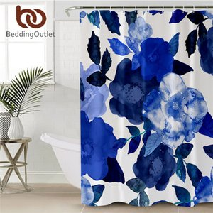 BeddingOutlet Flowers Shower Curtain Waterproof Polyester Watercolor Bath Curtain With Hooks Leaf Blue Bathroom Decor 180x180cm Towel