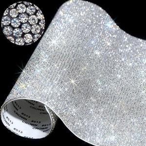 Self-Adhesive Rhinestone Sticker Sheet Crystal Ribbon with Gum Diamond DIY Decoration Cars Phone Cases Cups Accessories 20*24cm BWF2509