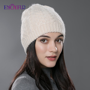 ENJOYFUR Women Autumn Winter Hats Elastic Knitted Wool Cotton Gorro Solid Multicolors Beanies Cap High-end Cute Casual Hats 201026