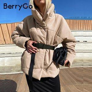 BerryGo Warm winter coat jacket women parka Casual sashes new design with pocket overcoat Stand collar khaki short coat female 201023