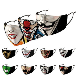 Máscaras Máscaras de impresión adulta divertida cara de la tela del payaso Boca Cubierta de protección reutilizable polvo lavables Prueba de máscara para adultos