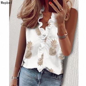 Wepbel hoja de loto Tops suelta blusas del tamaño extra grande de la manga de impresión camisas casual verano blusa de las mujeres Mujer Ropa para Mujer NxZK #