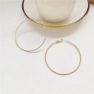 2020 2020 Fashion Earrings For Women Handmake Jewelry Retro Vintage Silver Needle Large Hoop Golden Scrub 15vX#