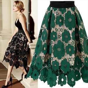 Vintage Women Big swing Lace Skirt Summer Green Hollow Out Floral Skirts Fashion High Waist Knee Party Beach Skirt