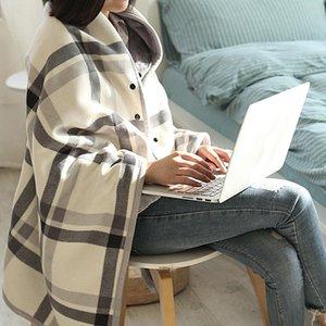 الشتاء متعددة الوظائف مع أزرار ترتان غطاء منقوش شال الدفء متعدد الألوان منقوشة نمط القطيفة كسول بطانية 135 * 80CM # LR2 201111