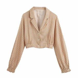 New women vintage geometric floral printing casual smock blouse ladies lantern sleeve kimono shirts chic blusas tops LS6598201016