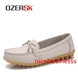 OZERSK Genuine Leather Flats Casual Slip On Loafers Woman Shoes Comfortable Soft Bottom Flat Shoes Vintage Style Woman