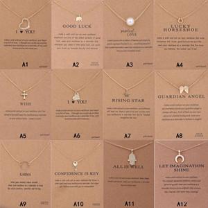 Nuovo arrivo Collana Dogearing con carta regalo Elephant Pearl Love Wings Cross Key Zodiac Sign Compass Lotus Pendant per le donne Gioielli di moda