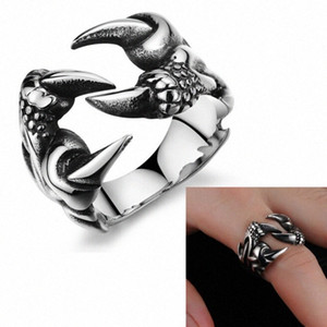 Wholesale Fashion Accessories Punk Chrome Jewelry Titanium Steel Dragon Claw Heart Party Rings For Men Vmln#