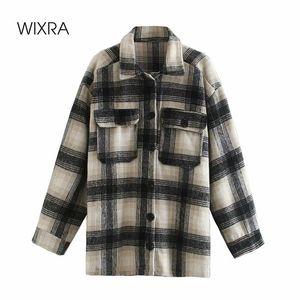 Wixra Womens plaid allentato di lana del rivestimento delle signore del cappotto Pockets Moda gira giù a maniche lunghe femminile Chic Outerwear