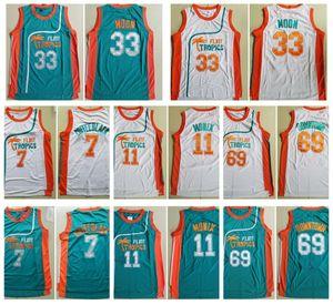 Erkekler Flint Tropics Film Sürümü # 33 Jackie AY İşlemeli 11 ED Monix 7 Kahve Siyah 69 Downtown Basketbol Forması