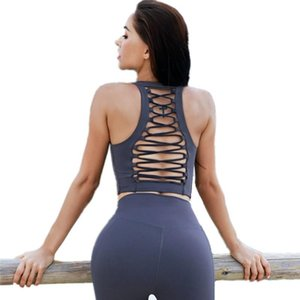 Sexy Back Tied Rope Hollow Mid-Length Style Yoga Bra High-Intensity Shockproof Sports Bra Women Running Quick Dry Fitness Vest