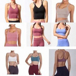 Yoga Sports Bra Full Cup Quick Dry Top Shockproof Cross Back Push Up Workout Bra LULEMON Women Gym Running Jogging Fitness Bra ne c0qf#