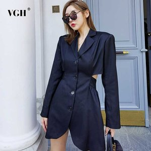 VGH Hollow Out Blazer For Women Notched Collar Long Sleeve High Waist Designer Streetwear Black Coats Female 2021 New Clothing