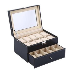 Leather Watch Collection Wristwatch Grid Case Warehouse Oversea Box Storage Display Box 6 10 12 20 24 Jewelry Organizer Y1116 jllFM