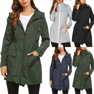 Femmes New Vestes légères Raincoat Veste imperméable à capuche randonnée en plein air Veste longue pluie Vestes active Rainwear