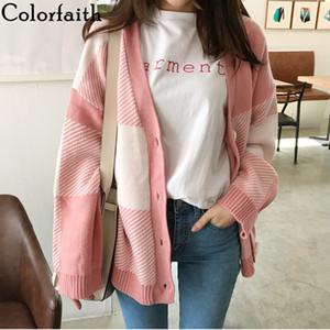 Knitwear Colorfaith Femme Automne Hiver coréenne style décontracté Plaid V-cou Tricoté Bouton Cardiagans rose Pulls SW5051 201006