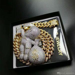 Out Pendant Hip Hop Bling Chains Jewelry Men Gold Necklace Luxury Designer Diamond Cuban Link Cartoon Money Bag Rapper DJ Charms
