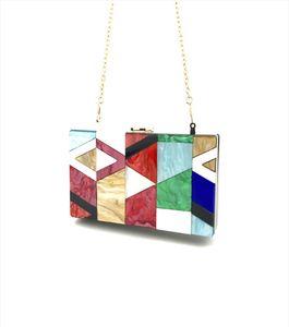 Handbag Women High Qualit Acrylic Fashion Evening Bag Geometric Stitching Color Acrylic Box Party Package Dropship May3