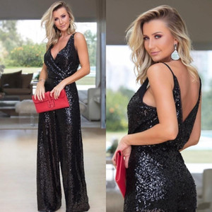 Black Elegant Sequined Jumpsuits Evening Dresses Deep V Neck Spaghetti Prom Dresses Backless Formal Pageant Gowns Party Prom Pantsuits