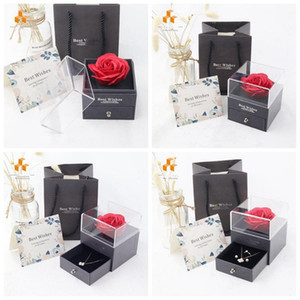 Rose Flower Jewelry Box Necklace Ring Preserved Flower Box Birthday Gift Box For Valentine's Day Mother's Day HH21-04