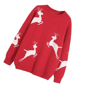 1pc Xmas Pullover Sweater Female Knitted Sweater Loose Warm Sweater Festive Knitted Clothes Christmas Women sqclyM sports2010