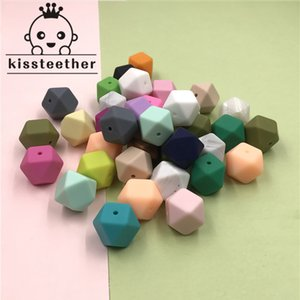 17mm Silicone Beads Teether Mix 50pc Food Grade Teether Geometric Octagonal DIY Necklace Bracelet Baby Teething Beads 201017
