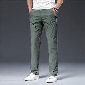 Browon 2020 Pantalones Masculinos Verano Nuevo Nylon Color Sólido Straight Mid Largo Integral Pantalones Casuales Smart Pantalones LJ201221