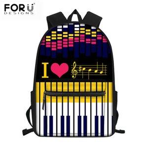 FORUDESIGNS Музыка Примечания 3D печати Красочный ранцы фортепианной клавиатуры Школьные рюкзаки для младших девочек моды ноутбуков Bagpack