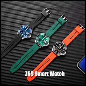 Z69 Luxury Smart-Uhr-Mann-klassische volle Runde Touch-Armbanduhr Sport Fitness Bluetooth Anruf Musik Weinlese-Frauen-Silikon-Bügel